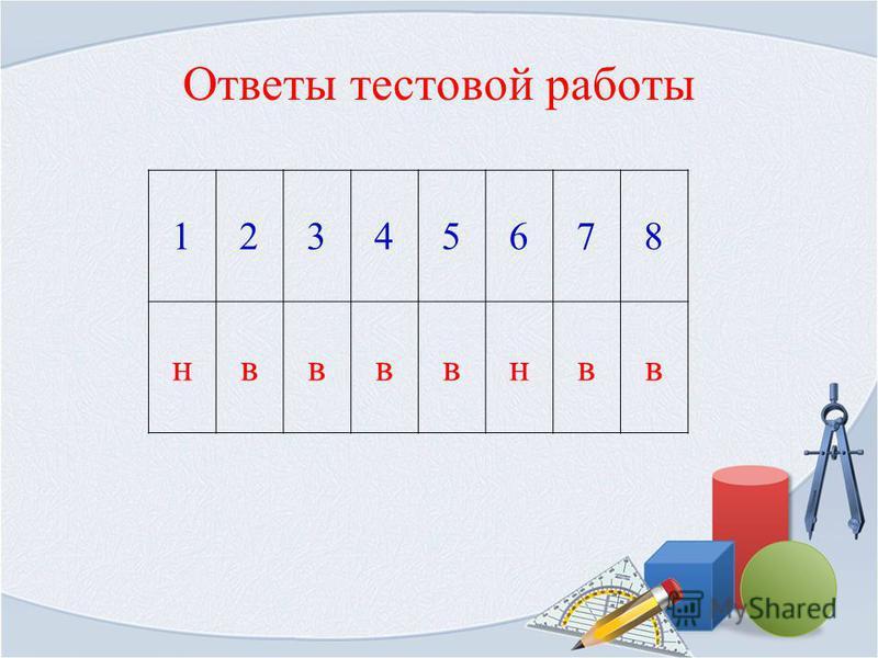 Ответы тестовой работы 12345678 нввввнвв