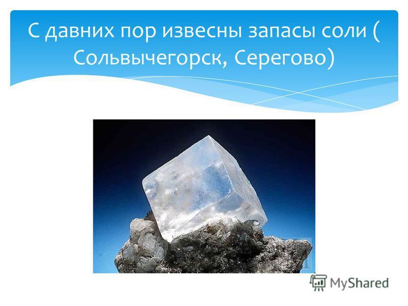 С давних пор известны запасы соли ( Сольвычегорск, Серегово)