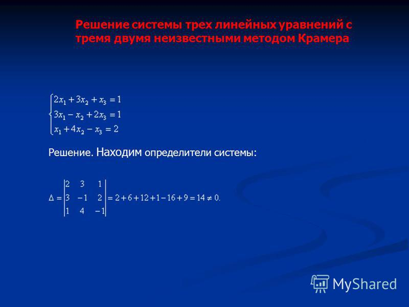 Решение системы трех линейных уравнений с тремя двумя неизвестными методом Крамера Решение. Находим определители системы: