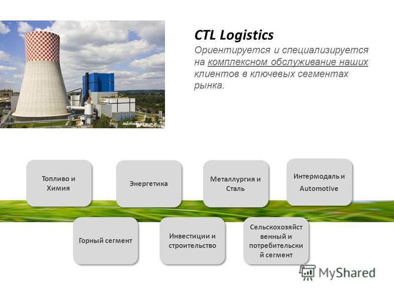 CTL Logistics Ориентируется и специализируется на комплексном обслуживание наших клиентов в ключевых сегментах рынка. Топливо и Химия Энергетика Горный сегмент Металлургия и Сталь Интермодаль и Automotive Интермодаль и Automotive Сельскохозяйст венны