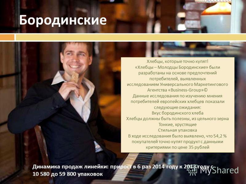 Бородинские Хлебцы, которые точно купят ! « Хлебцы – Молодцы Бородинские » были разработаны на основе предпочтений потребителей, выявленных исследованием Универсального Маркетингового Агентства «Business-Group»© Данные исследования по изучению мнения