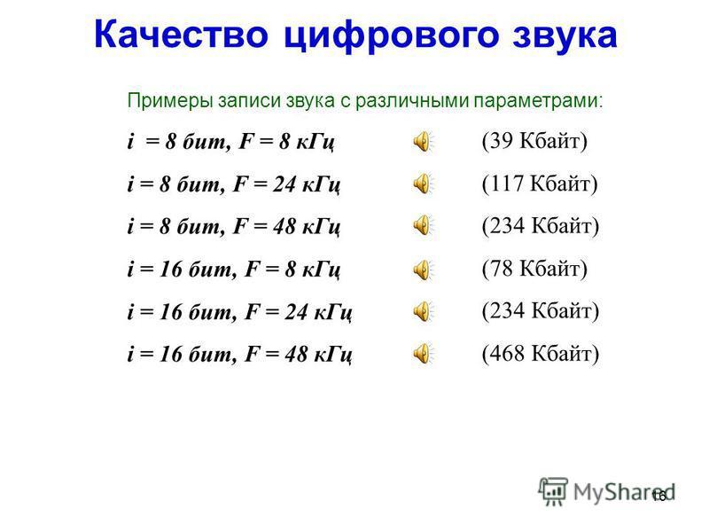 15 Глубина кодерования звука (разрядность дискретизации) – это длина двоичного кода, используемого для кодерования каждого измеренного дискретного уровня громкости звука. N – количество дискретных уровней звука i – глубина кодерования звука (бит) 8 б