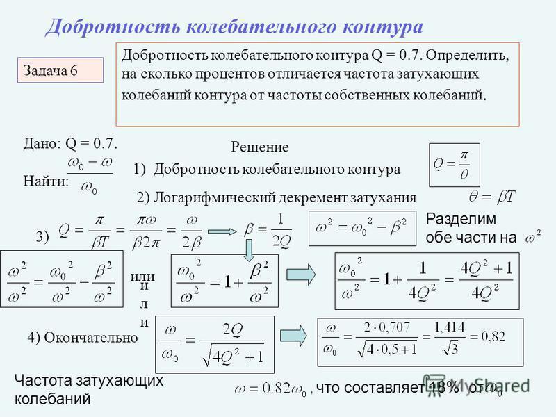 Задача 6 Добротность колебательного контура Добротность колебательного контура Q = 0.7. Определить, на сколько процентов отличается частота затухающих колебаний контура от частоты собственных колебаний. Дано: Q = 0.7. Найти: Решение 1) Добротность ко