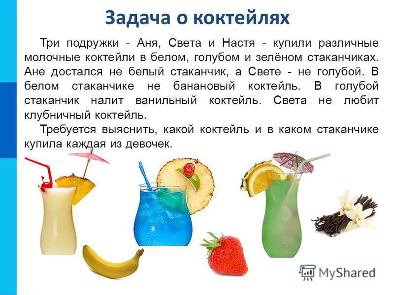 Задача о коктейлях Три подружки - Аня, Света и Настя - купили различные молочные коктейли в белом, голубом и зелёном стаканчиках. Ане достался не белый стаканчик, а Свете - не голубой. В белом стаканчике не банановый коктейль. В голубой стаканчик нал