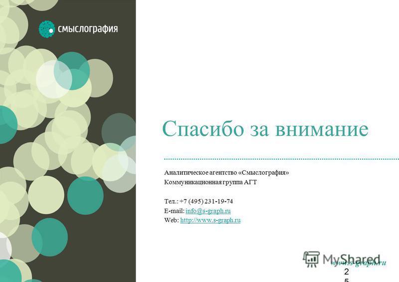 www.s-graph.ru Спасибо за внимание Аналитическое агентство «Смыслография» Коммуникационная группа АГТ Тел.: +7 (495) 231-19-74 E-mail: info@s-graph.ruinfo@s-graph.ru Web: http://www.s-graph.ruhttp://www.s-graph.ru25
