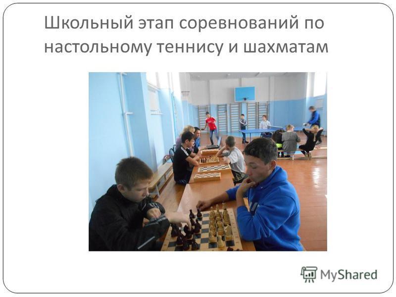 Школьный этап соревнований по настольному теннису и шахматам
