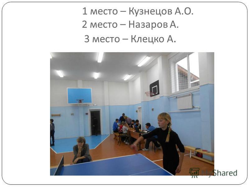 1 место – Кузнецов А. О. 2 место – Назаров А. 3 место – Клецко А.