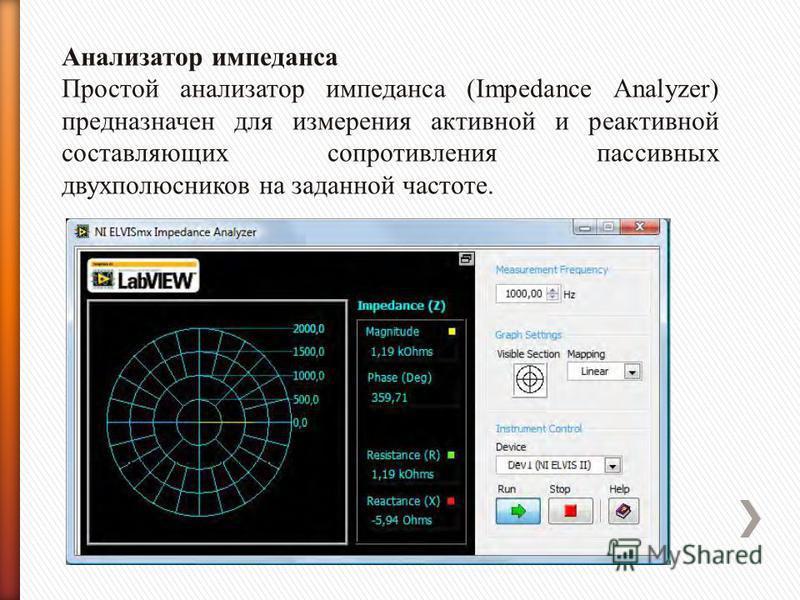 Анализатор импеданса Простой анализатор импеданса (Impedance Analyzer) предназначен для измерения активной и реактивной составляющих сопротивления пассивных двухполюсников на заданной частоте.