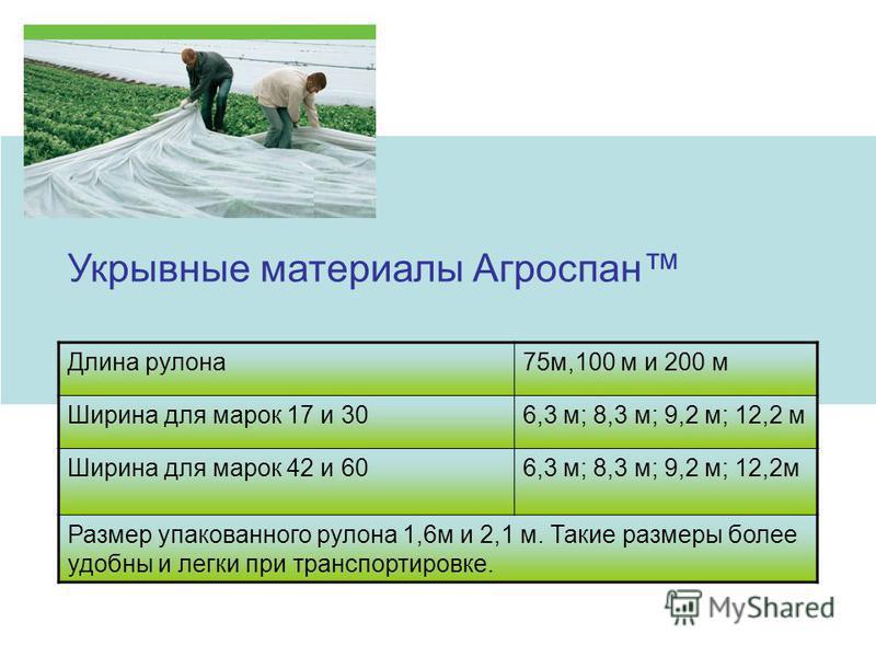 Укрывные материалы Агроспан Длина рулона 75 м,100 м и 200 м Ширина для марок 17 и 306,3 м; 8,3 м; 9,2 м; 12,2 м Ширина для марок 42 и 606,3 м; 8,3 м; 9,2 м; 12,2 м Размер упакованного рулона 1,6 м и 2,1 м. Такие размеры более удобны и легки при транс