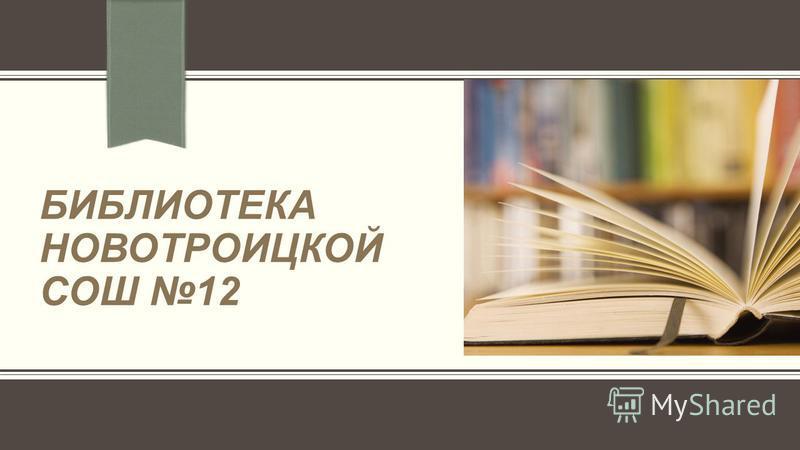 БИБЛИОТЕКА НОВОТРОИЦКОЙ СОШ 12