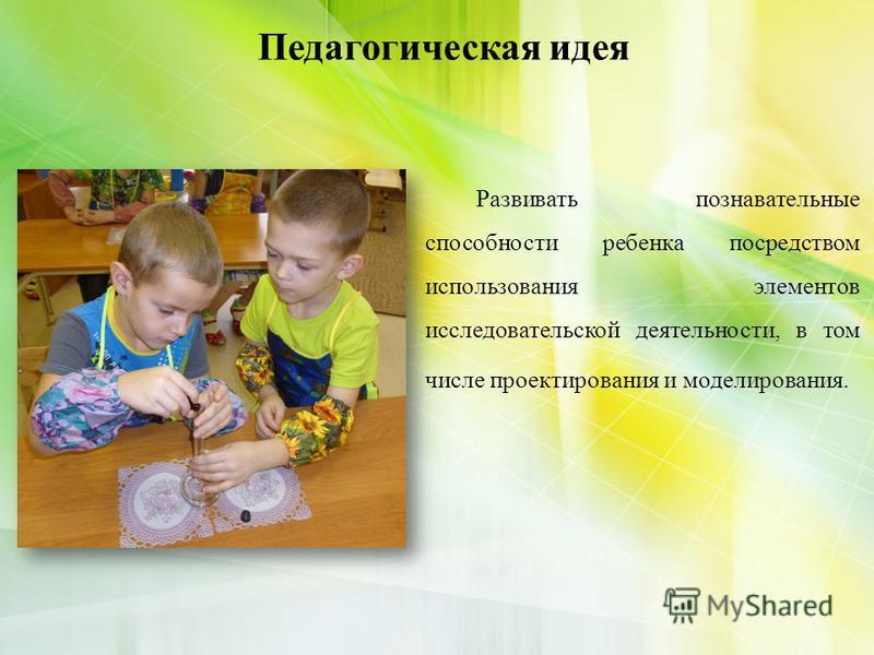 Развивать познавательные способности ребенка посредством использования элементов исследовательской деятельности, в том числе проектирования и моделирования. Педагогическая идея