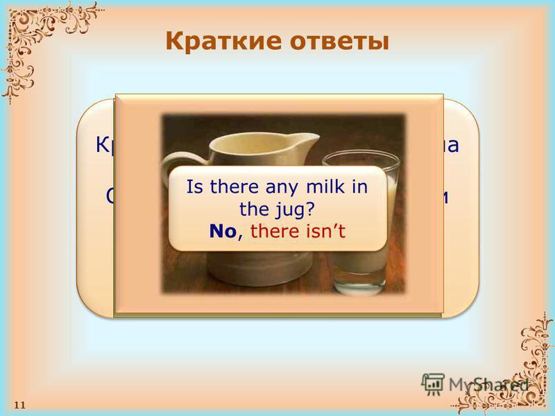 11 Краткие ответы ПРАВИЛО Краткие ответы обычно дают на общие вопросы. Они состоят из слова Yes/No и оборота there is/are в утвердительной или отрицательной форме в соответствующем времени ПРАВИЛО Краткие ответы обычно дают на общие вопросы. Они сост