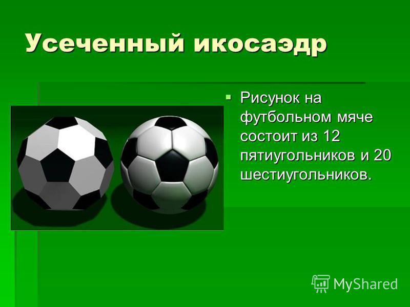 Усеченный икосаэдр Рисунок на футбольном мяче состоит из 12 пятиугольников и 20 шестиугольников. Рисунок на футбольном мяче состоит из 12 пятиугольников и 20 шестиугольников.
