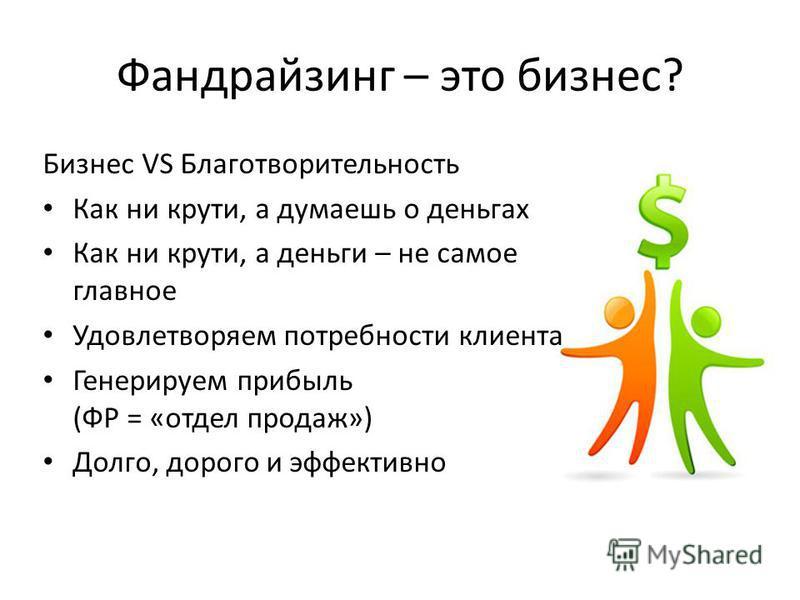 Фандрайзинг – это бизнес? Бизнес VS Благотворительность Как ни крути, а думаешь о деньгах Как ни крути, а деньги – не самое главное Удовлетворяем потребности клиента Генерируем прибыль (ФР = «отдел продаж») Долго, дорого и эффективно