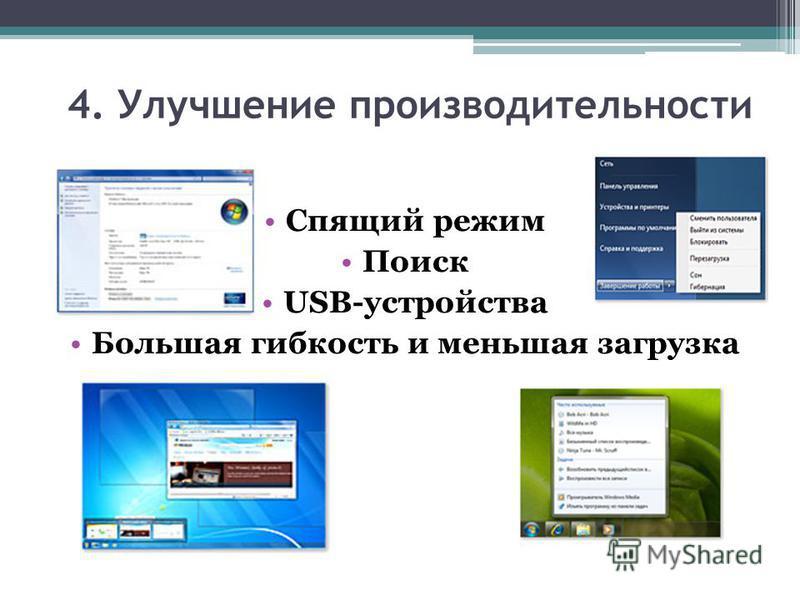 4. Улучшение производительности Спящий режим Поиск USB-устройства Большая гибкость и меньшая загрузка
