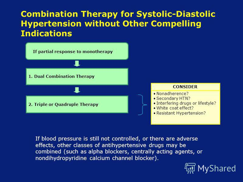 Combination Therapy for Systolic-Diastolic Hypertension without Other Compelling Indications CONSIDER Nonadherence? Secondary HTN? Interfering drugs or lifestyle? White coat effect? Resistant Hypertension? If blood pressure is still not controlled, o