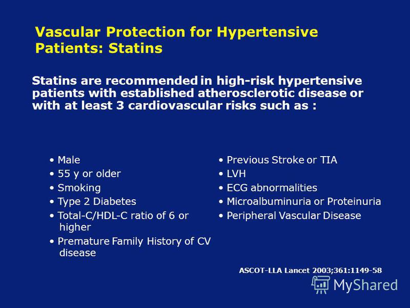 Vascular Protection for Hypertensive Patients: Statins Statins are recommended in high-risk hypertensive patients with established atherosclerotic disease or with at least 3 cardiovascular risks such as : Male 55 y or older Smoking Type 2 Diabetes To