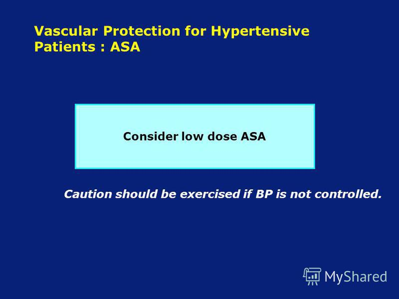 Vascular Protection for Hypertensive Patients : ASA Consider low dose ASA Caution should be exercised if BP is not controlled.