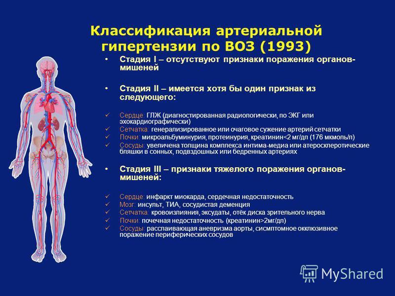 Классификация артериальной гипертензии по ВОЗ (1993) Стадия I – отсутствуют признаки поражения органов- мишеней Стадия II – имеется хотя бы один признак из следующего: Сердце: ГЛЖ (диагностированная радиологический, по ЭКГ или эхокардиографически) Се