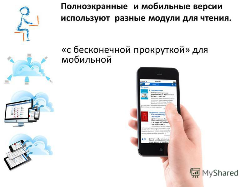 Полноэкранные и мобильные версии используют разные модули для чтения. «с бесконечной прокруткой» для мобильной