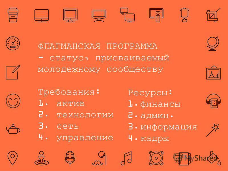 ФЛАГМАНСКАЯ ПРОГРАММА - статус, присваиваемый молодежному сообществу Требования: 1. актив 2. технологии 3. сеть 4. управление Ресурсы: 1. финансы 2.админ. 3. информация 4.кадры