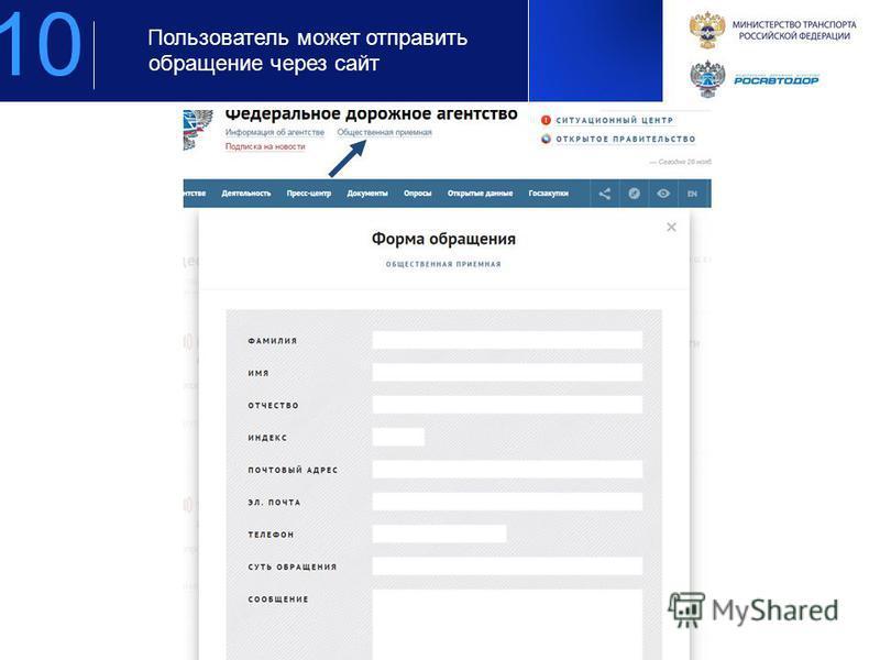 Предложение по площадкам для организации мероприятия для компании РОСАВТОДОР Пользователь может отправить обращение через сайт 10