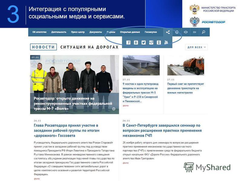 Предложение по площадкам для организации мероприятия для компании РОСАВТОДОР 3 Интеграция с популярными социальными медиа и сервисами.