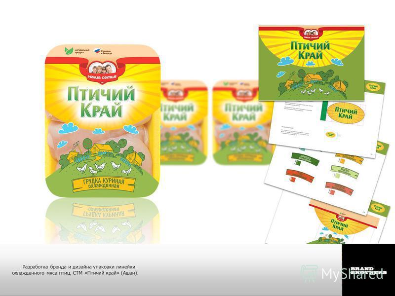 Разработка бренда и дизайна упаковки линейки охлажденного мяса птиц, СТМ «Птичий край» (Ашан).