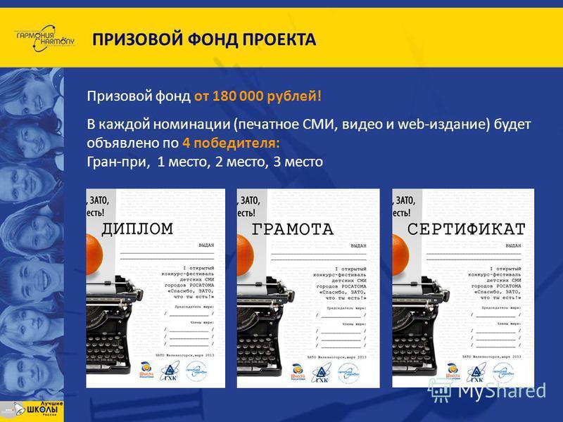 Призовой фонд от 180 000 рублей! В каждой номинации (печатное СМИ, видео и web-издание) будет объявлено по 4 победителя: Гран-при, 1 место, 2 место, 3 место ПРИЗОВОЙ ФОНД ПРОЕКТА