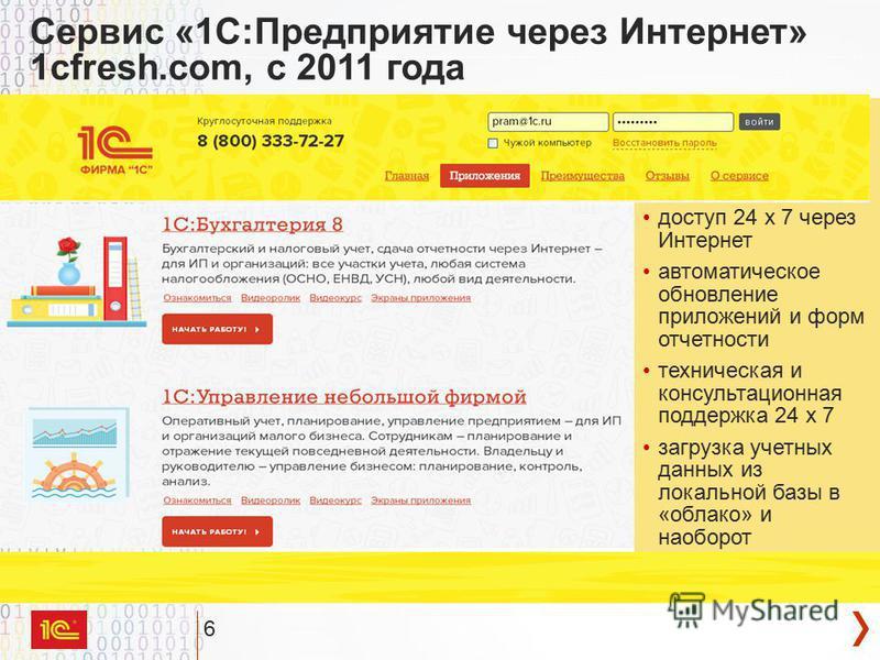 6 информационная база хранится на сервере фирмы 1С доступ 24 х 7 через Интернет автоматическое обновление приложений и форм отчетности техническая и консультационная поддержка 24 х 7 загрузка учетных данных из локальной базы в «облако» и наоборот Сер