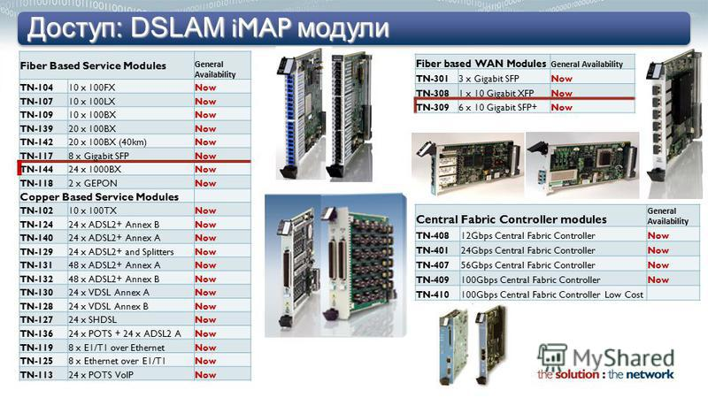 Доступ: DSLAM iMAP модули Fiber Based Service Modules General Availability TN-10410 x 100FXNow TN-10710 x 100LXNow TN-10910 x 100BXNow TN-13920 x 100BXNow TN-14220 x 100BX (40km)Now TN-1178 x Gigabit SFPNow TN-14424 x 1000BXNow TN-1182 x GEPONNow Cop