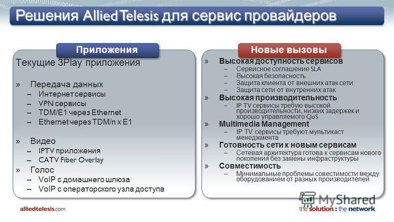 Решения Allied Telesis для сервис провайдеров Текущие 3Play приложения »Передача данных –Интернет сервисы –VPN сервисы –TDM/E1 через Ethernet –Ethernet через TDM/n x E1 »Видео –IPTV приложения –CATV Fiber Overlay »Голос –VoIP с домашнего шлюза –VoIP