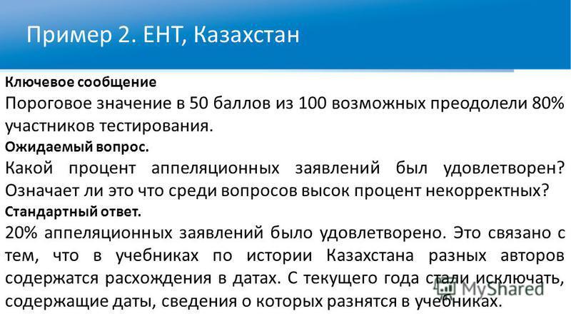 Пример 2. ЕНТ, Казахстан Ключевое сообщение Пороговое значение в 50 баллов из 100 возможных преодолели 80% участников тестирования. Ожидаемый вопрос. Какой процент апелляционных заявлений был удовлетворен? Означает ли это что среди вопросов высок про