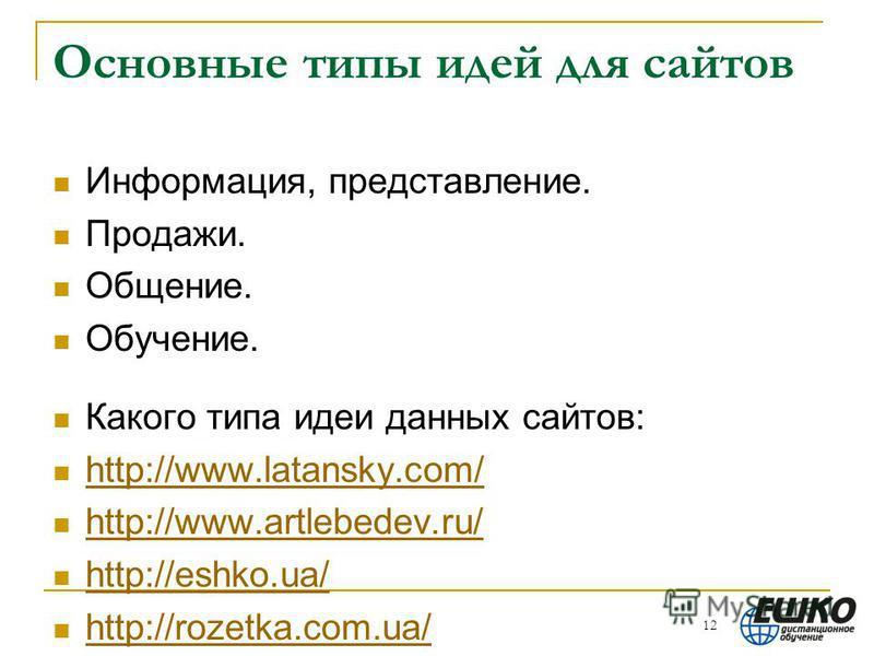 Основные типы идей для сайтов Информация, представление. Продажи. Общение. Обучение. Какого типа идеи данных сайтов: http://www.latansky.com/ http://www.artlebedev.ru/ http://eshko.ua/ http://rozetka.com.ua/ 12