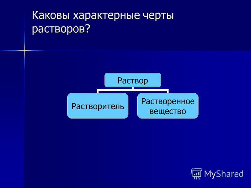 Каковы характерные черты растворов? Раствор Растворитель Растворенное вещество