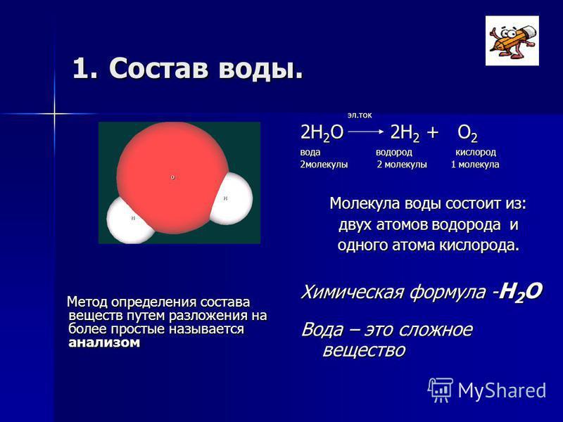 1. Состав воды. Метод определения состава веществ путем разложения на более простые называется анализом Метод определения состава веществ путем разложения на более простые называется анализом эл.ток эл.ток 2Н 2 О 2Н 2 + О 2 вода водород кислород 2 мо