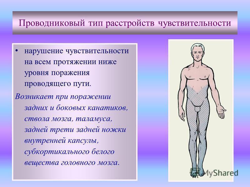 Проводниковый тип расстройств чувствительности нарушение чувствительности на всем протяжении ниже уровня поражения проводящего пути. Возникает при поражении задних и боковых канатиков, ствола мозга, таламуса, задней трети задней ножки внутренней капс