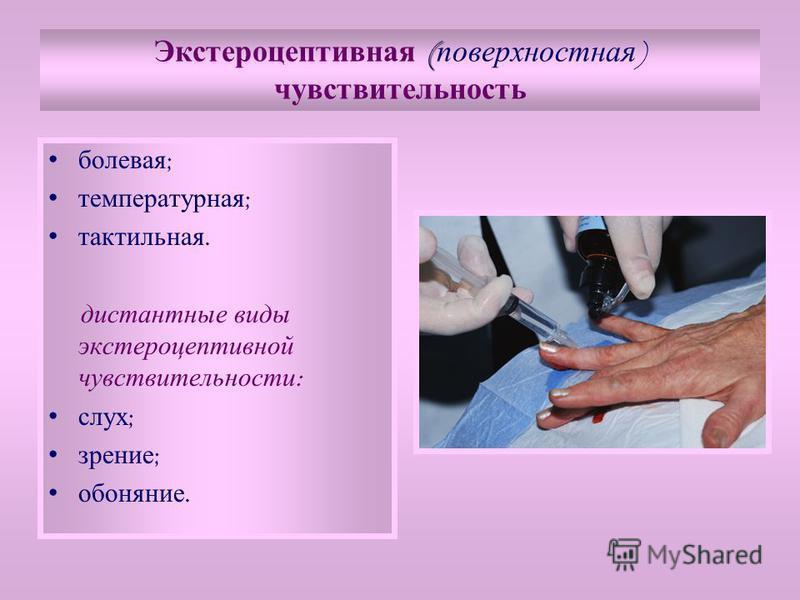 ( Экстероцептивная ( поверхностная ) чувствительность болевая ; температурная ; тактильная. дистантные виды экстероцептивной чувствительности : слух ; зрение ; обоняние.