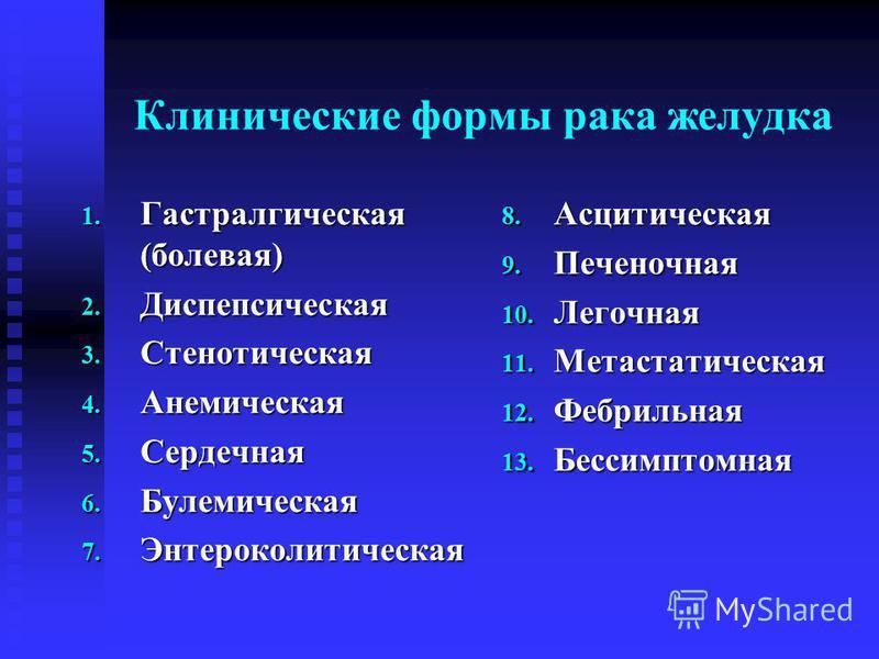 Клинические формы рака желудка 1. Гастралгическая (болевая) 2. Диспепсическая 3. Стенотическая 4. Анемическая 5. Сердечная 6. Булемическая 7. Энтероколитическая 8. Асцитическая 9. Печеночная 10. Легочная 11. Метастатическая 12. Фебрильная 13. Бессимп