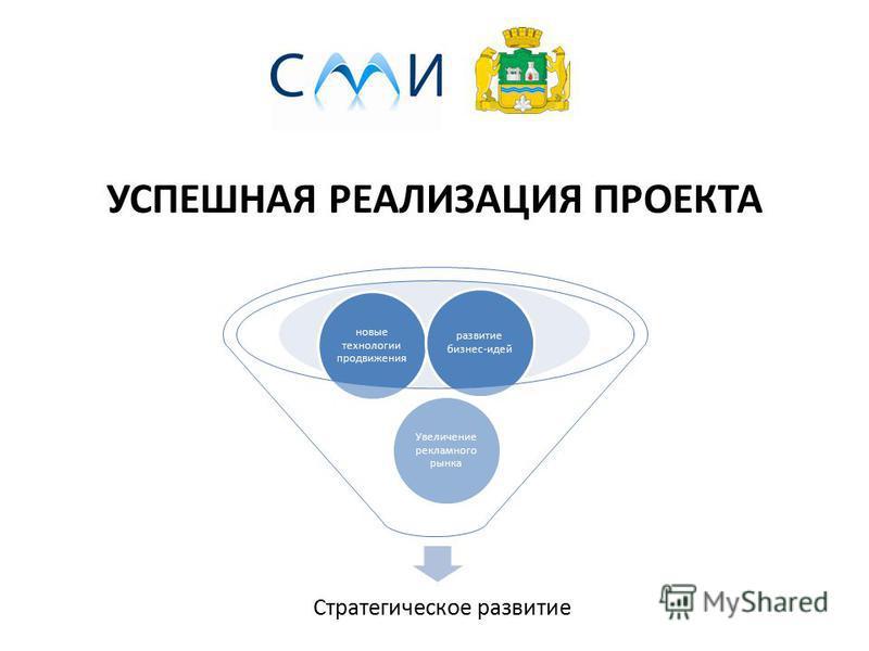 УСПЕШНАЯ РЕАЛИЗАЦИЯ ПРОЕКТА Стратегическое развитие Увеличение рекламного рынка новые технологии продвижения развитие бизнес-идей