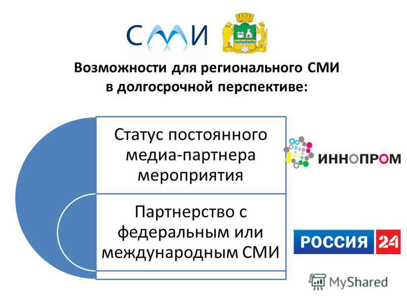 Возможности для регионального СМИ в долгосрочной перспективе: Статус постоянного медиа-партнера мероприятия Партнерство с федеральным или международным СМИ