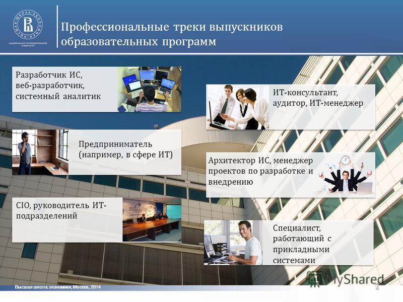 Высшая школа экономики, Москва, 2014 4 Профессиональные треки выпускников образовательных программ Разработчик ИС, веб-разработчик, системный аналитик ИТ-консультант, аудитор, ИТ-менеджер Предприниматель (например, в сфере ИТ) CIO, руководитель ИТ- п