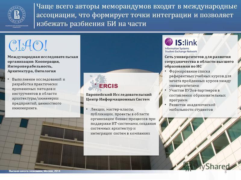 Высшая школа экономики, Москва, 2014 8 Чаще всего авторы меморандумов входят в международные ассоциации, что формирует точки интеграции и позволяет избежать разбиения БИ на части Международная исследовательская организация: Кооперация, Интероперабель