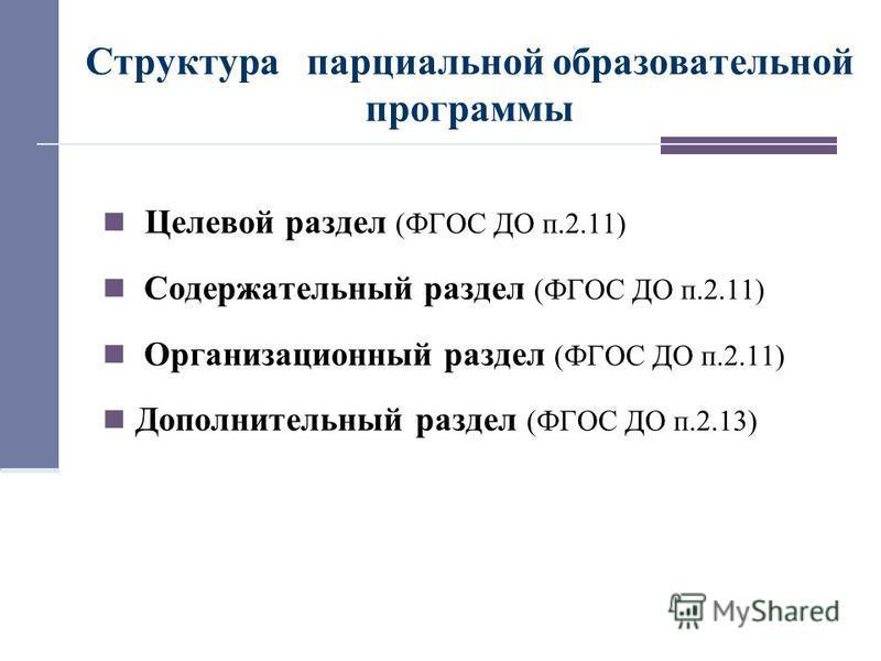 Структура парциальной образовательной программы Целевой раздел (ФГОС ДО п.2.11) Содержательный раздел (ФГОС ДО п.2.11) Организационный раздел (ФГОС ДО п.2.11) Дополнительный раздел (ФГОС ДО п.2.13)