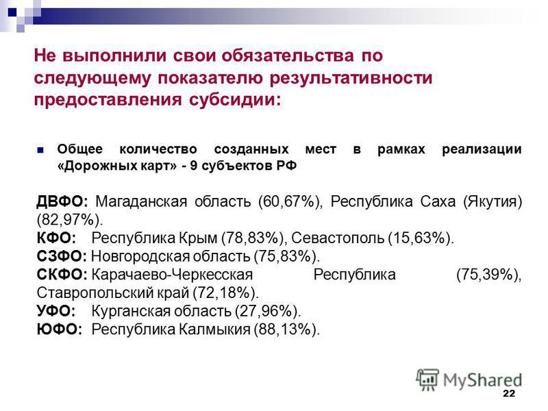 22 Не выполнили свои обязательства по следующему показателю результативности предоставления субсидии: Общее количество созданных мест в рамках реализации «Дорожных карт» - 9 субъектов РФ ДВФО: Магаданская область (60,67%), Республика Саха (Якутия) (8