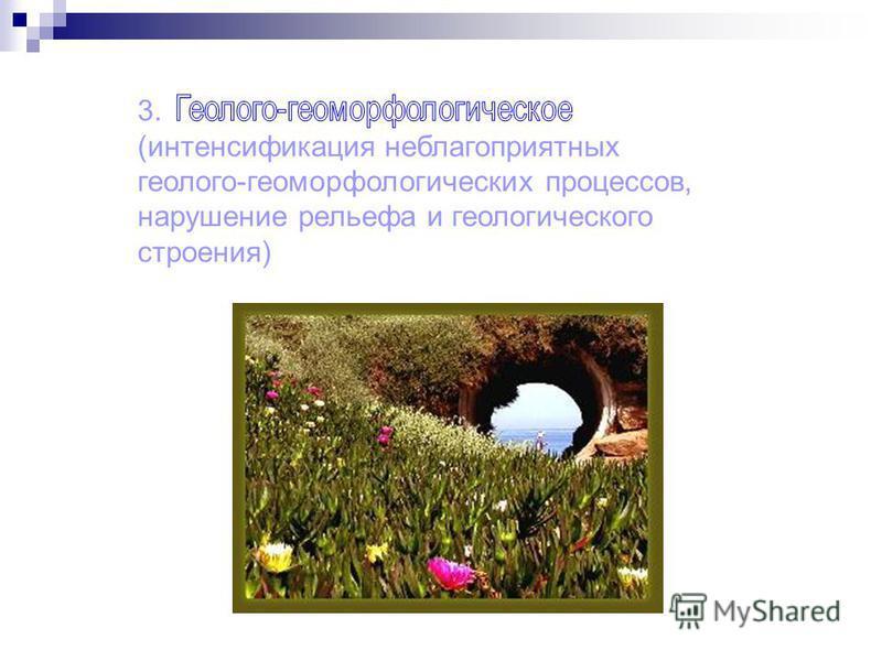 3. (интенсификация неблагоприятных геолого-геоморфологических процессов, нарушение рельефа и геологического строения)