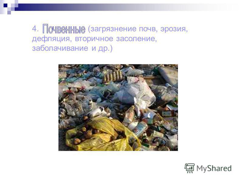 4. (загрязнение почв, эрозия, дефляция, вторичное засоление, заболачивание и др.)