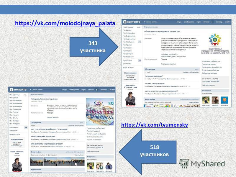 https://vk.com/molodojnaya_palata https://vk.com/tyumensky 518 участников 343 участника