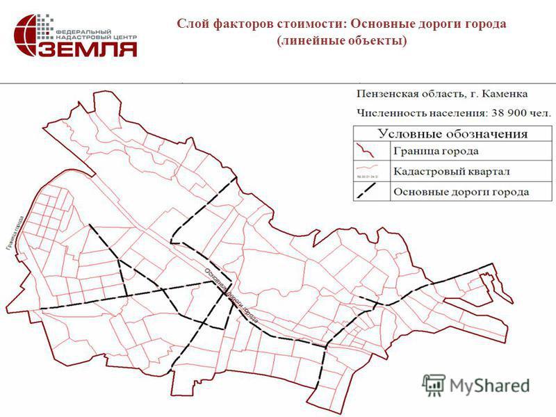 10 Слой факторов стоимости: Основные дороги города (линейные объекты)