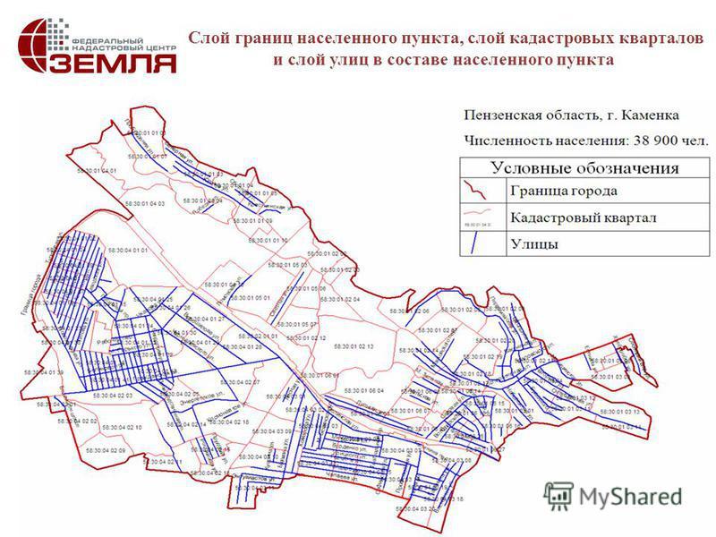 8 Слой границ населенного пункта, слой кадастровых кварталов и слой улиц в составе населенного пункта